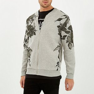 http://eu.riverisland.com/men/hoodies--sweatshirts/sweatshirts/Grey-floral-placement-print-bomber-jacket-284633