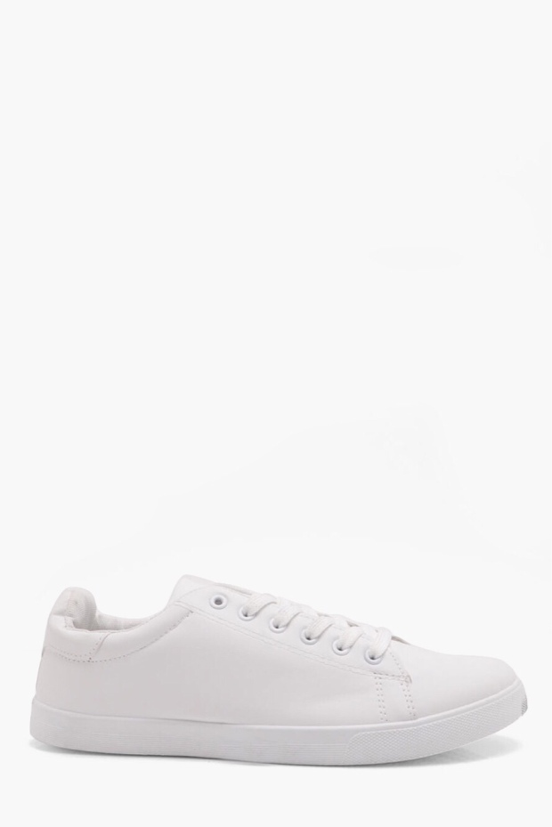 White lace up trainers €22